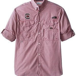 Columbia SC Gamecocks Red Plaid Fishing Shirt XXL